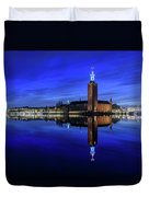 Perfect Stockholm City Hall Blue Hour Reflection Duvet Cover
