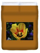 Perfect Yellow And Red Flowering Tulip In A Garden Duvet Cover