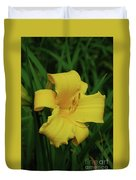 Perfect Yellow Daylily Flowering In A Garden Duvet Cover