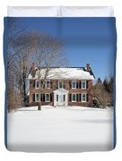 Period Vintage New England Brick House In Winter Duvet Cover
