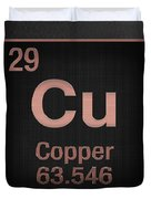 Periodic Table Of Elements - Copper - Cu - Copper On Black Duvet Cover