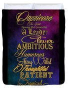 Personality Traits Of A Capricorn Duvet Cover by Mamie Thornbrue