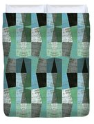 Perspective Compilation With Wood Grain And Teal Duvet Cover