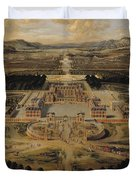 Perspective View Of The Chateau Gardens And Park Of Versailles Duvet Cover by Pierre Patel