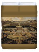 Perspective View Of The Chateau Gardens And Park Of Versailles Duvet Cover