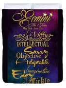 Pesonality Traits Of A Gemini Duvet Cover by Mamie Thornbrue