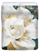 Petals Impasto White And Gold Duvet Cover