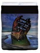 Peter Iredale Shipwreck Under Starry Night Sky Duvet Cover