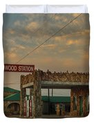 Petrified Gas Station After Rain Duvet Cover