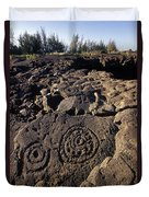 Petroglyphs In Kalahuipuas Historic Duvet Cover