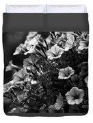Petunias 1 Black And White Duvet Cover