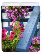 Petunias On Blue Porch Duvet Cover