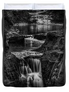 Pewits Nest Waterfalls In Black And White Duvet Cover