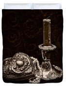Pewter And Pearls - Sepia Duvet Cover