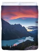 Peyto Lake At Dusk Duvet Cover