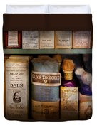 Pharmacy - Oils And Balms Duvet Cover by Mike Savad