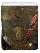 Pheasant Macaw Monkey Parrots And Tortoise  Duvet Cover