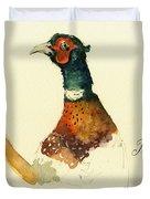Pheasant Painting Duvet Cover