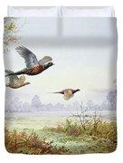 Pheasants In Flight  Duvet Cover