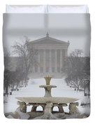 Philadelphia Art Museum From The West In Winter Duvet Cover