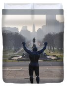Philadelphia Champion - Rocky Duvet Cover by Bill Cannon