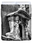 Philadelphia City Hall Window In Black And White Duvet Cover