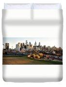 Philadelphia Cityscape From Penn Park In University City Duvet Cover