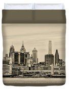 Philadelphia From The Waterfront In Sepia Duvet Cover
