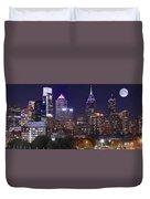 Philadelphia Full Moon Panorama Duvet Cover