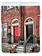 Philadelphia Pa - Townhouse With Red Geraniums Duvet Cover