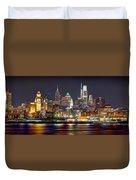 Philadelphia Philly Skyline At Night From East Color Duvet Cover
