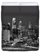 Philadelphia Skyline At Night Black And White Bw  Duvet Cover