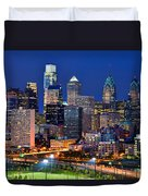 Philadelphia Skyline At Night Duvet Cover