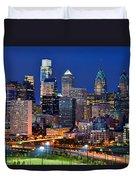 Philadelphia Skyline At Night Duvet Cover