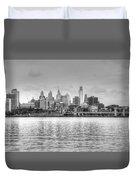Philadelphia Skyline In Black And White Duvet Cover
