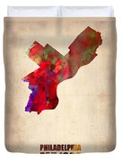 Philadelphia Watercolor Map Duvet Cover by Naxart Studio