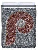 Philidelphia Phillies Baseballs Mosaic Duvet Cover