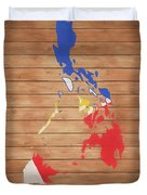 Philippines Rustic Map On Wood Duvet Cover