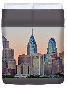 Philly At Sunset Duvet Cover