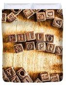 Philosophy Word Art Duvet Cover