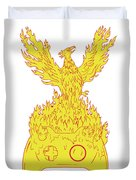 Phoenix Rising Fiery Flames Over Game Controller Drawing Duvet Cover