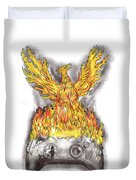 Phoenix Rising Over Burning Game Controller Tattoo Duvet Cover