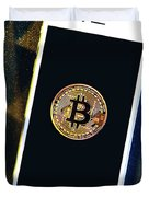 Phone With A Bitcoin Laying On Top Of It. Duvet Cover