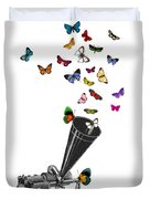 Phonograph And Butterflies Print Duvet Cover