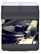 Piano Keyboard And Headphones Duvet Cover