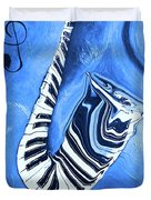 Piano Keys In A Saxophone Blue - Music In Motion Duvet Cover