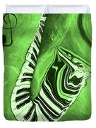 Piano Keys In A  Saxophone Green Music In Motion Duvet Cover