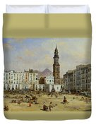 Piazza Mazaniello In Naples Duvet Cover by Jean Auguste Bard