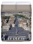 Piazza San Pietro And Colonnaded Square As Seen From The Dome Of Saint Peter's Basilica - Rome, Ital Duvet Cover
