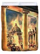 Piazza San Pietro In Roma Italy Duvet Cover